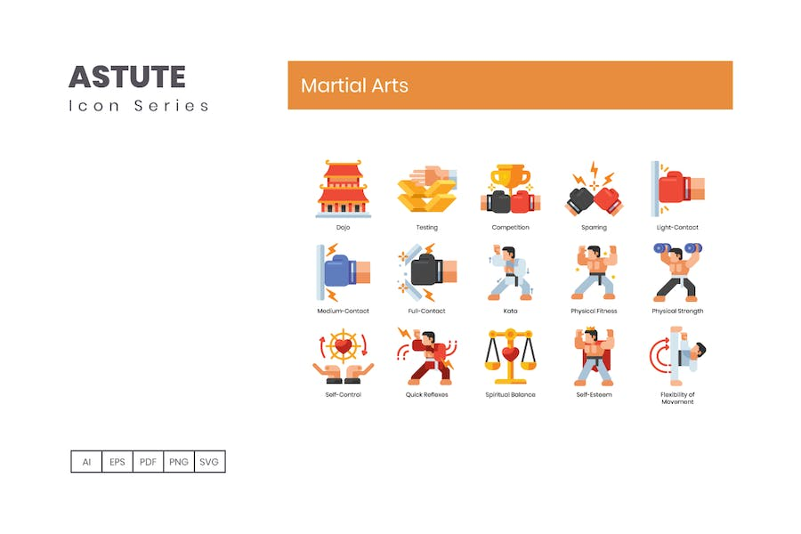 70 Martial Arts Icons | Astute Series - product preview 3