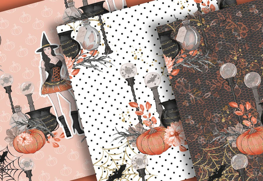 Halloween Girl digital paper pack - product preview 1