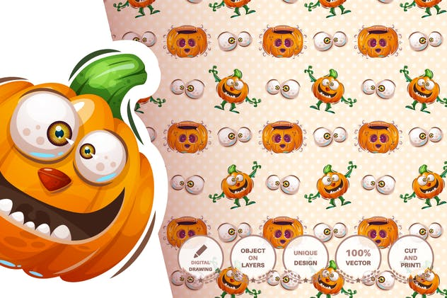 Set cute sticker - seamless pattern - product preview 2
