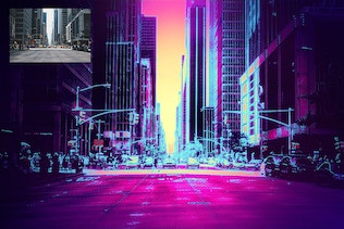Thumbnail for Synthwave Photoshop Action