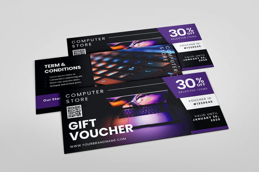 Computer Store AI and PSD Gift Voucher Template - product preview 3