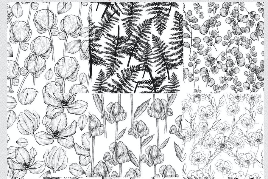 12 seamless ink hand-drawn patterns set  - product preview 1