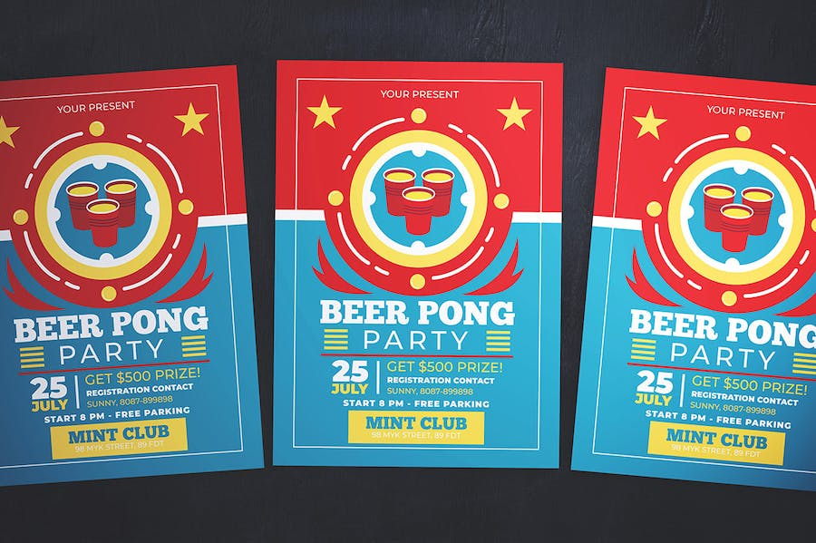 Beer Pong Party Flyer - product preview 3
