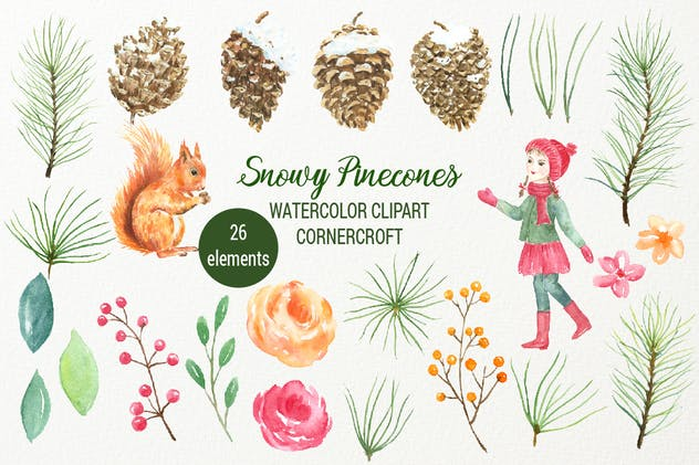 Watercolor Snowy Pinecones - product preview 1