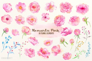 Thumbnail for Watercolor Design Kit Romantic Pink