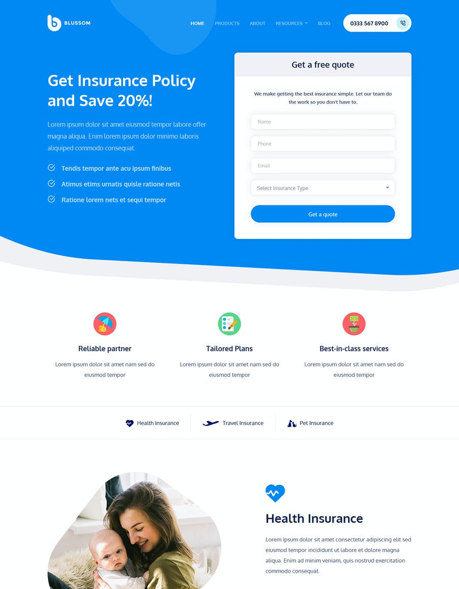 Blussom Insurance Service Landing Page Template  - product preview 3