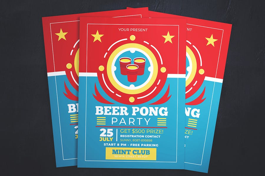 Beer Pong Party Flyer - product preview 2