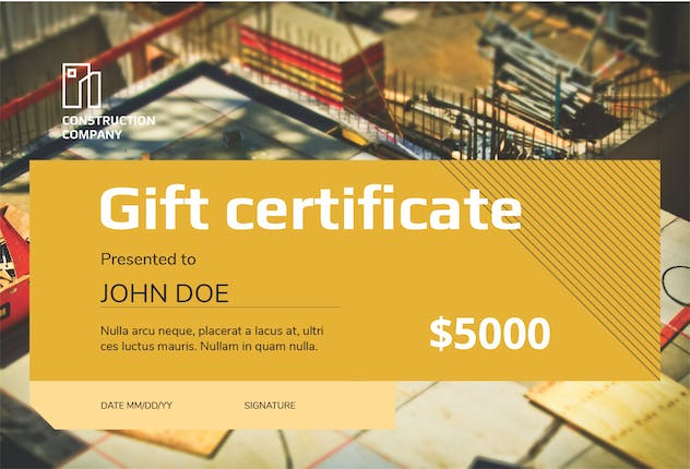 Construction Company Gift Certificate - product preview 2