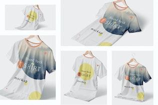 Thumbnail für Modisch Rundhals T-Shirts Mock-ups