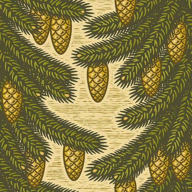 Seamless spruce pattern - product preview 0