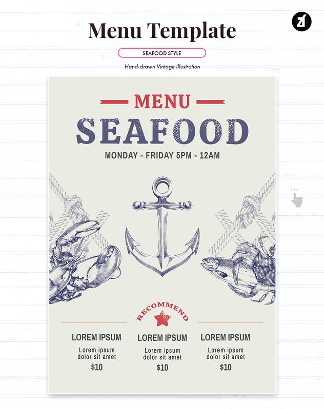 Seafood style menu template - product preview 1