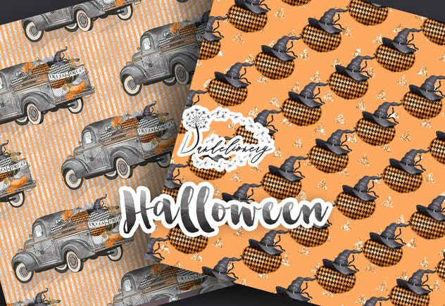 Happy  Halloween digital paper pack