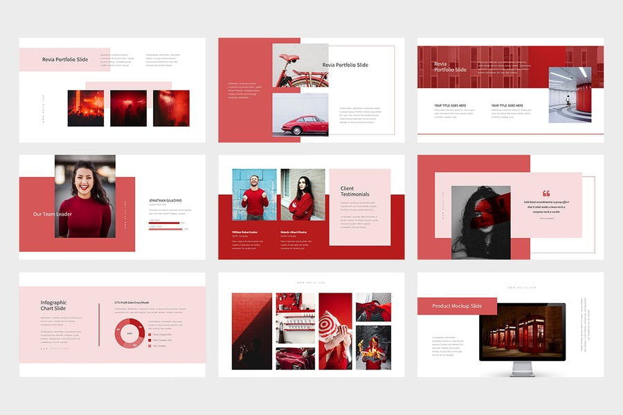 Revia : Red Gradient Color Tone Keynote - product preview 4
