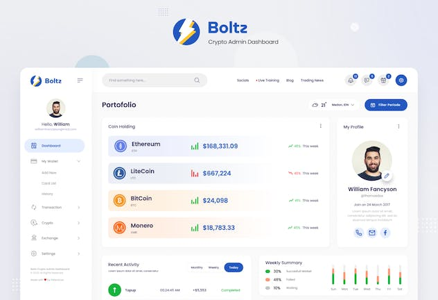 Boltz - Crypto Admin Panel Dashboard UI Template - product preview 1