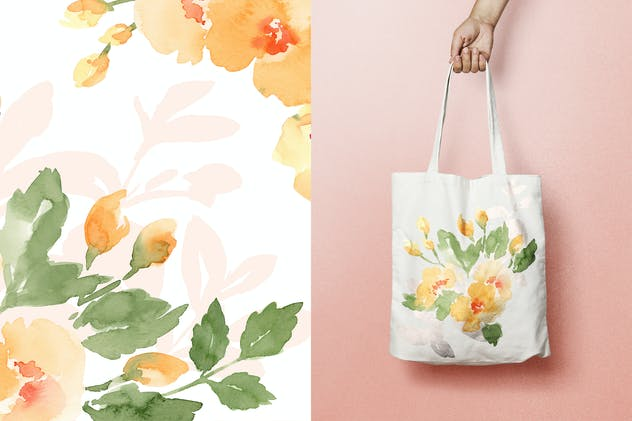 Soft Yellow Roses, watercolor flowers - product preview 4