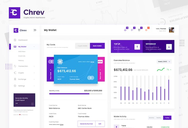 Crypto Admin Dashboard UI Figma & PSD Template - product preview 1