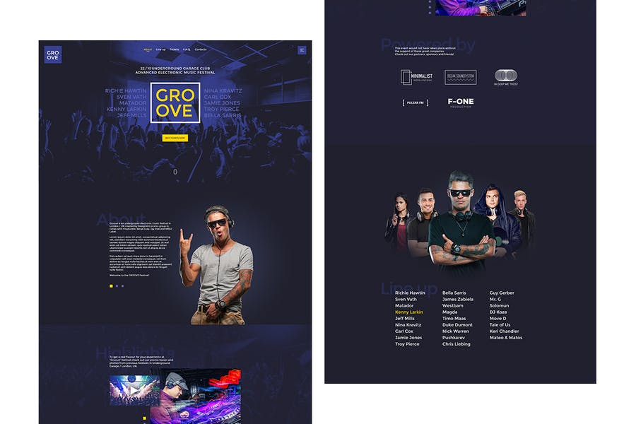 Groove - Music Event / Party Promo Site Template - product preview 1