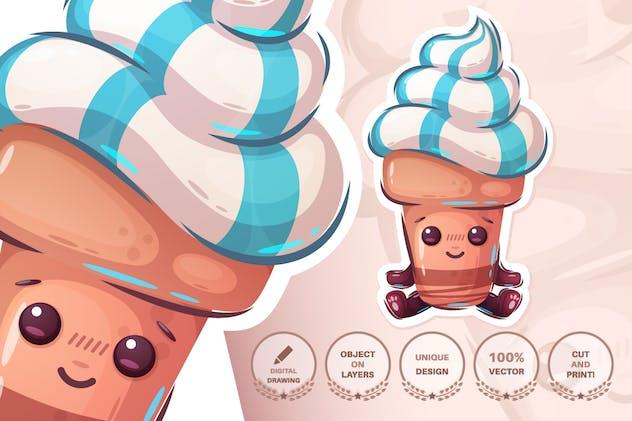 Cute ice cream - seamless pattern and sticker