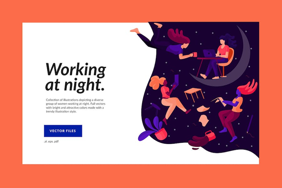 Working at Night Illustration - product preview 1