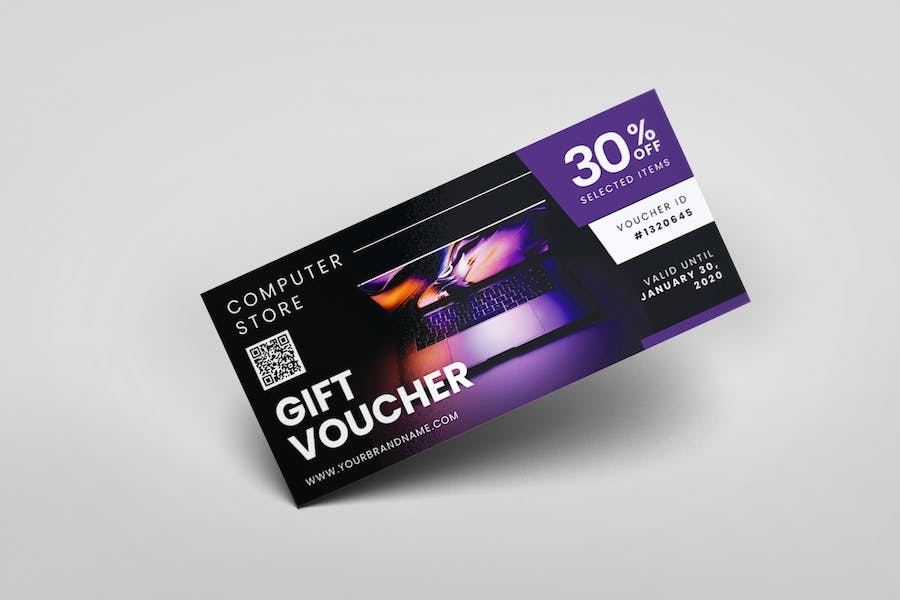 Computer Store AI and PSD Gift Voucher Template - product preview 4
