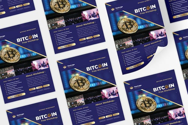 Bitcoin Cryptocurrency Mining Flyer
