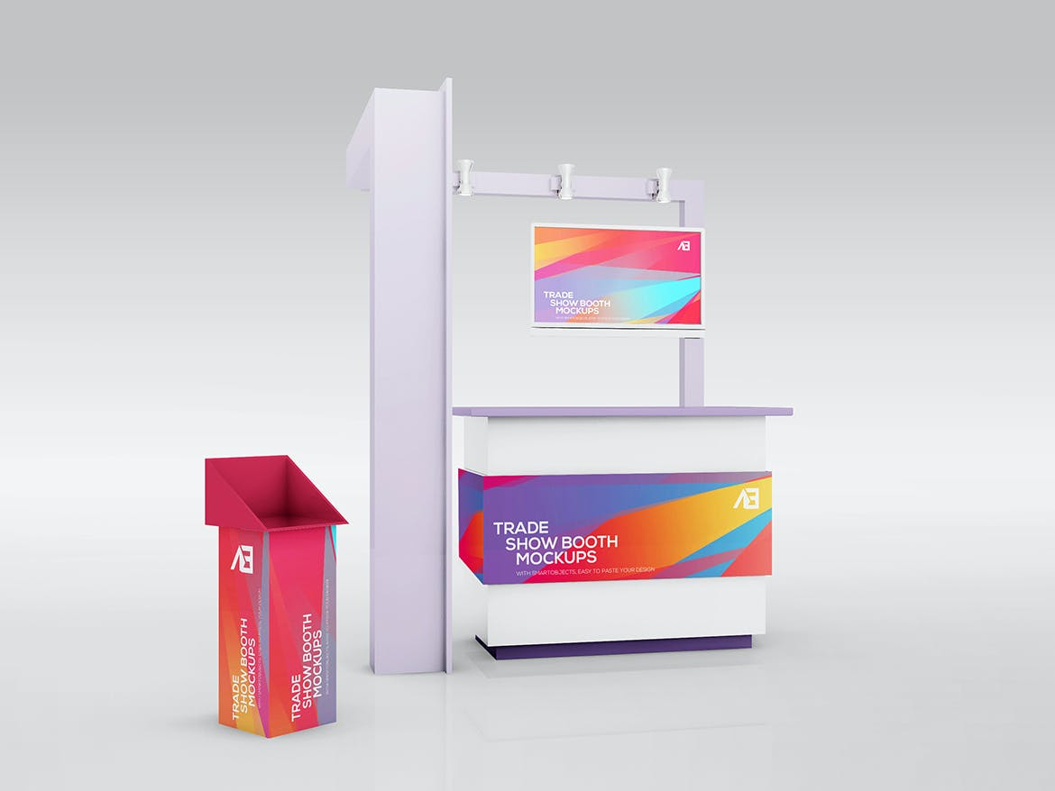 Modular Exhibition Stand Mockup : Trade show booth mockup