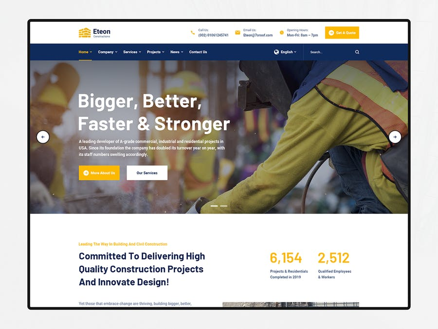 Eteon - Construction and Building HTML5 Template - product preview 3