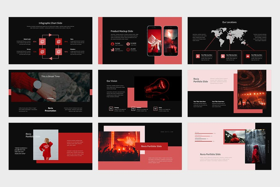 Revia : Red Gradient Color Tone Keynote - product preview 8