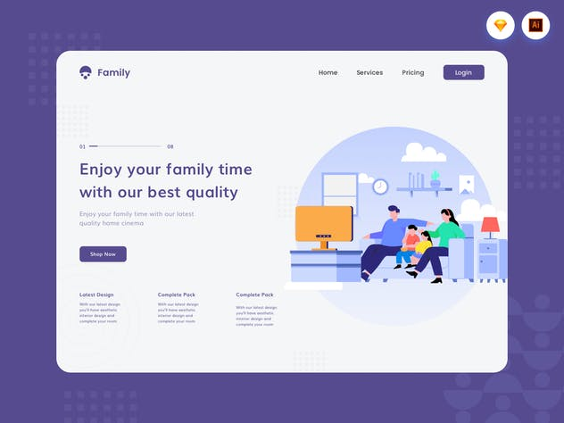 Family Quality Time - Website Header Illustration - product preview 1