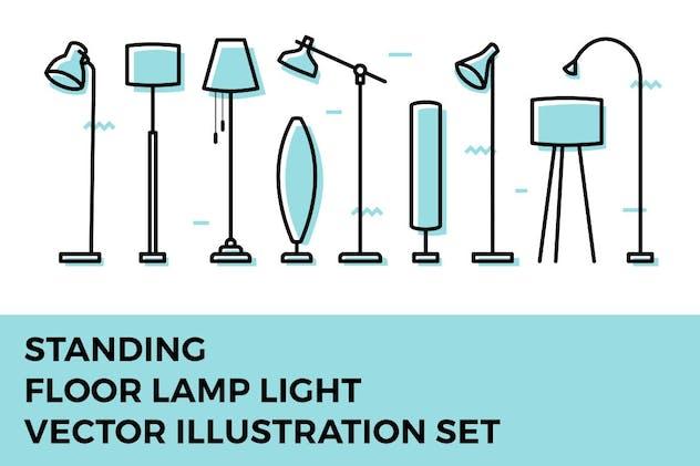Standing Floor Lamp Light Furniture Vector Set