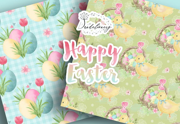 Happy Easter digital paper pack - product preview 3