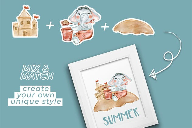 elephant cute summer watercolor illustration - product preview 3