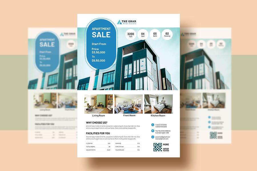 Real-Estate (Apartment Sales) Flyer Template V-9 - product preview 1