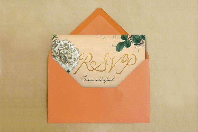 Vintage Floral Postcard Invitation Package - product preview 4