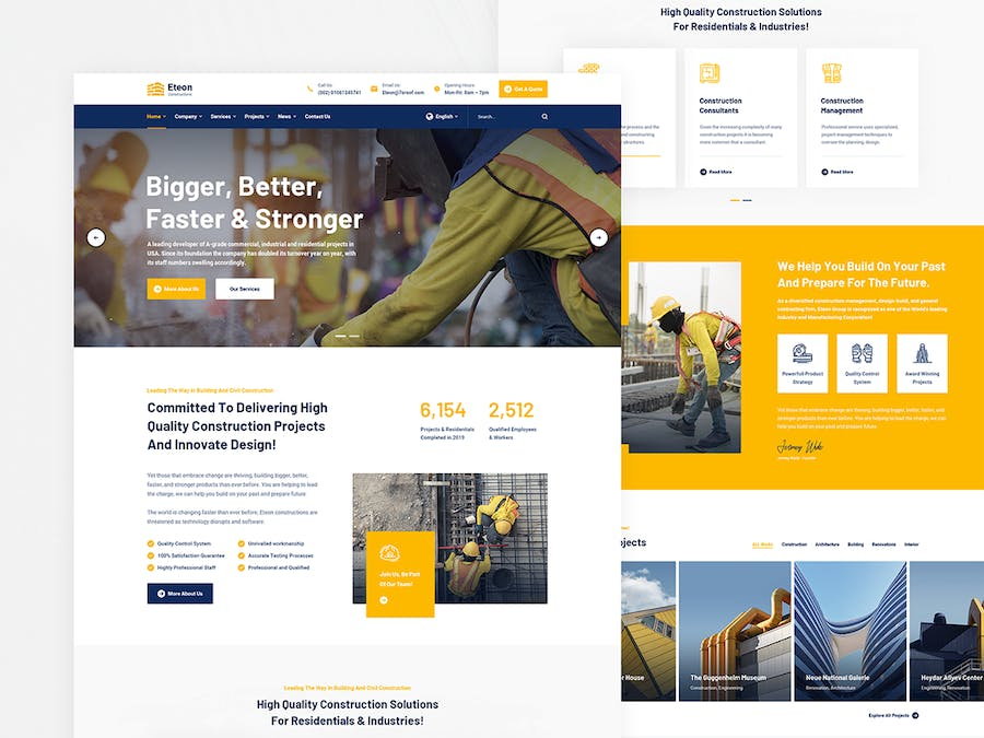 Eteon - Construction and Building HTML5 Template - product preview 2