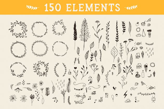 150 Floral Graphic Elements - product preview 1