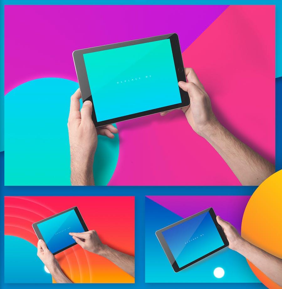 Preview image 8 for iPad Tablet UI Приложение Мокапы с яркими Фоны