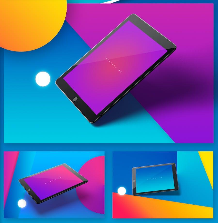 Preview image 11 for iPad Tablet UI Приложение Мокапы с яркими Фоны