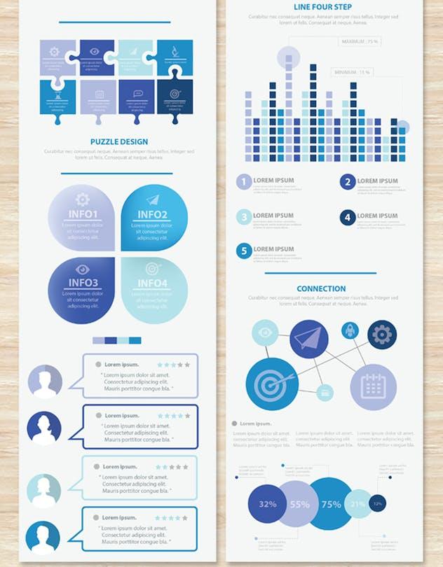 Big Blue Infographic Elements Design Scheme V.5 - product preview 2