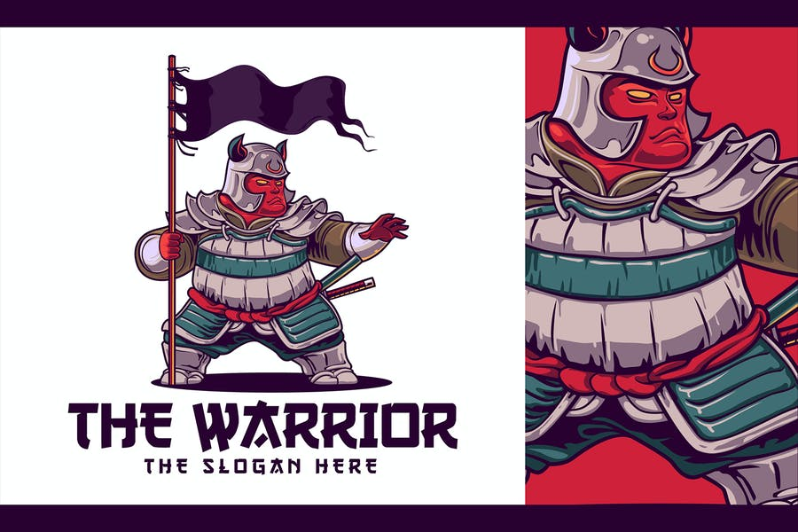 Japanese Warrior Character Mascot Logo - product preview 1