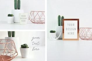 Thumbnail for Picture frame and mug mockups, Minimal bronze