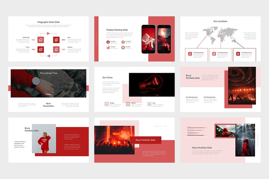 Revia : Red Gradient Color Tone Keynote - product preview 2