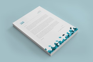 Thumbnail for Blue Square Pattern Stationery