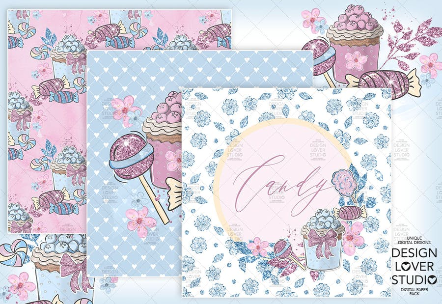 Candy Girl digital paper pack - product preview 4