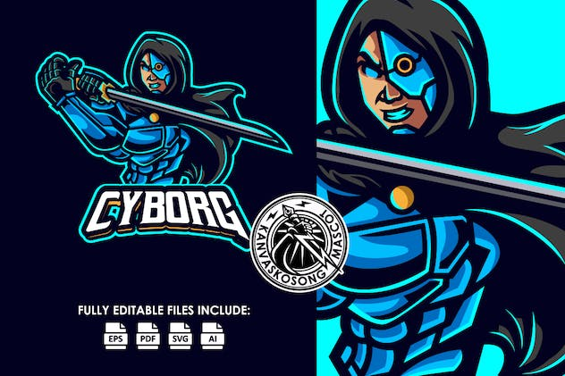 Cyborg Army Logo Template - product preview 1
