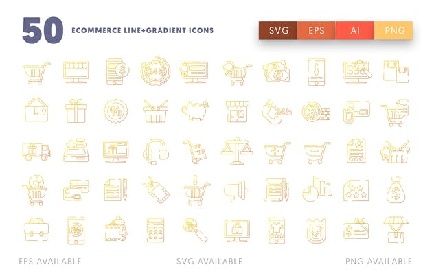 Ecommerce Line and Gradient Icons - product preview 1