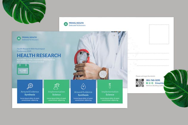 Health Research Postcard Design - product preview 1