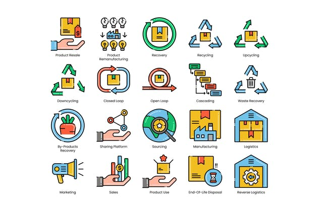 80 Circular Economy Line Icons - product preview 2