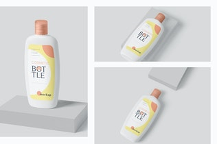 Thumbnail for Flach abgerundete Kunststoff-Lotion Flasche Mockup