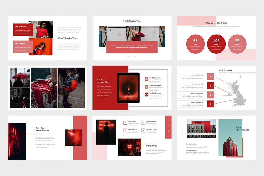 Revia : Red Gradient Color Tone Keynote - product preview 3